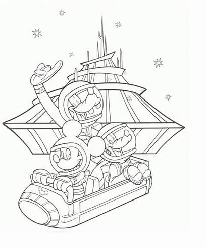 Disney Coloring Pages Parks Mountain Space Disneyland