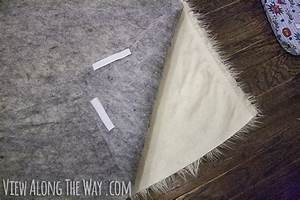 How to make a diy faux fur rug view along the way for Diy fabric carpet