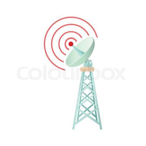 tower  communication dish icon cartoon style stock