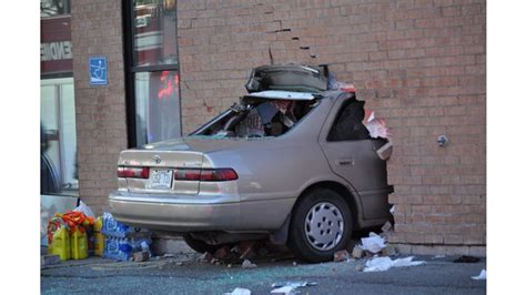 training surveys car crashes into building in canada firehouse