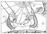 Coloring Trapeze Pages Artists Circus Acrobat Printable Hellokids Getcolorings sketch template
