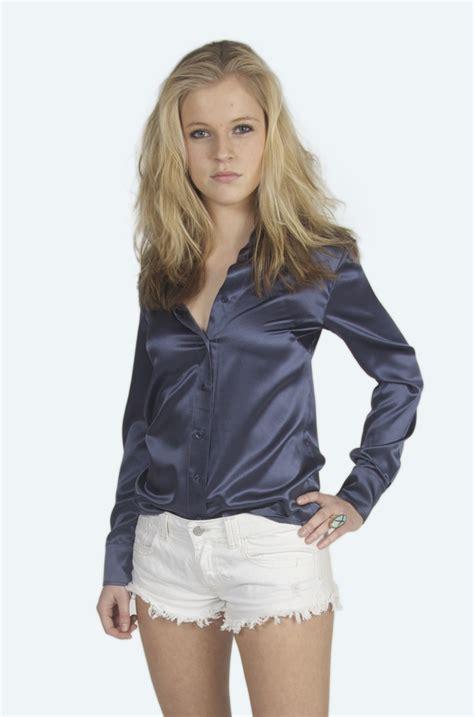 silk blouse navy blue issa  satin blouse satin