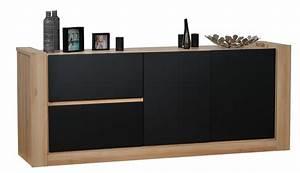Buffet Bois Et Noir : buffet 2 portes 2 tiroirs noir et ch ne kayen ~ Teatrodelosmanantiales.com Idées de Décoration