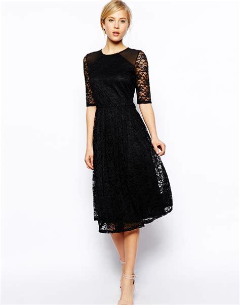 asos midi dress  sunflower lace  shoulder detail