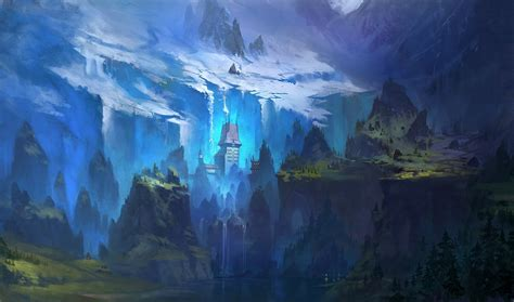 Art Painted Landscape River House Hills Trees Mountains