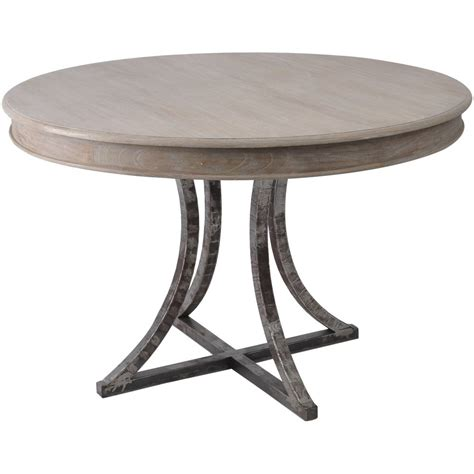 buy distressed wood and metal circular dining table from