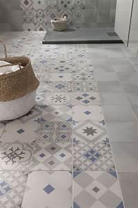 carrelage imitation carreaux de ciment 7 idees tendance With carrelage adhesif salle de bain avec bande de led leroy merlin