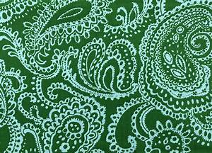 Reserved Paisley Cotton Fabric Green and Blue Cotton Fabric 1