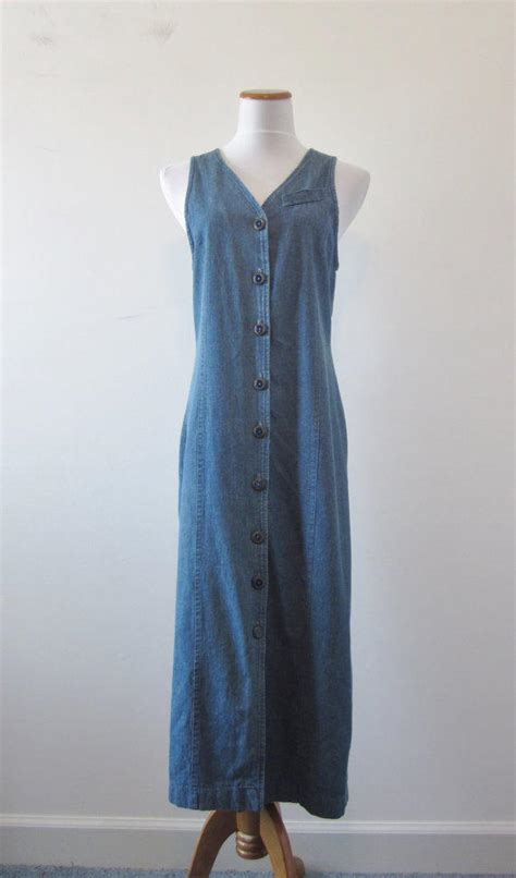 vintage  denim maxi dress long  groovygirlgarb  etsy