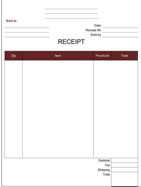 cash receipt template  printable cash receipt formats