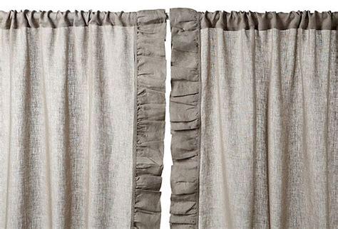 gray ruffle blackout curtains ruffle 96 quot linen curtain panel gray