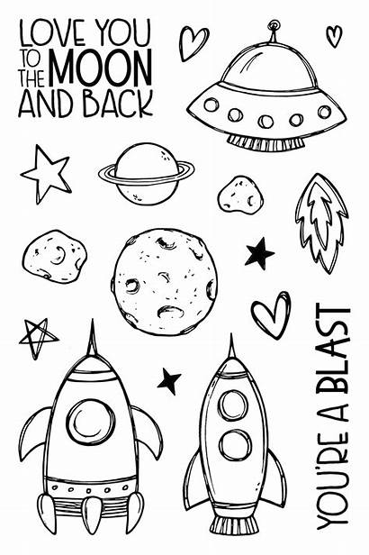 Moon Doodles Doodle Drawings Space Easy Simple