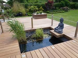 terrasse en bois exotique jardin d39exterieur galaxy With ordinary amenagement exterieur jardin moderne 3 amenagement paysager avec terrasse en bois composite