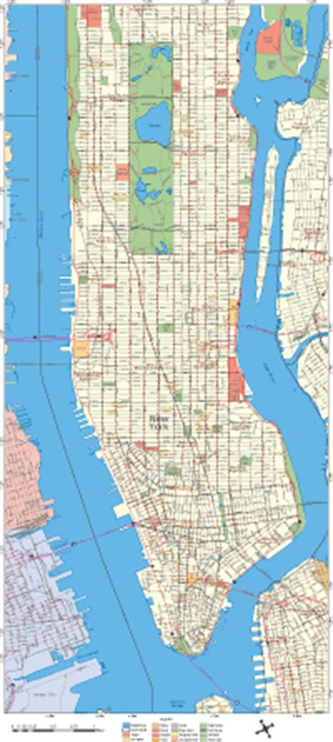 editable manhattan street map high detail illustrator