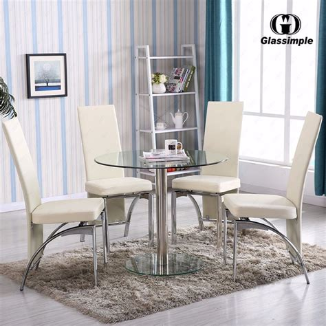 piece dining table set  glass  chairs kitchen room