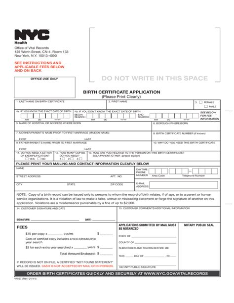birth certificate application form nyc birth certificate application nyc free download