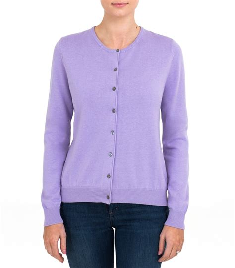 lilac sweater lilac womens silk and cotton crew neck cardigan