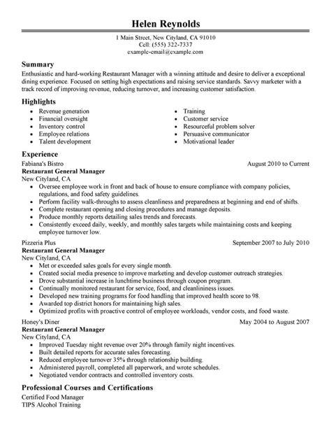 Sle Resume Restaurant Manager by Best Restaurant Manager Resume Exle Livecareer