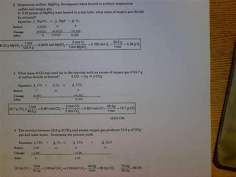Stoichiometry Worksheet 2 Percent Yield Answer Key