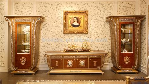 French Luxury Louis Xv Style Wooden Tv Stand With Showcase/ Palace Golden Home Decor 4 door Tv