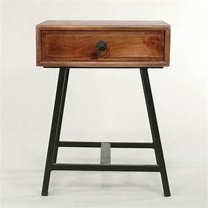 Nachttisch Mit Schublade : beistelltisch eisen und holz mit schublade vintage design ~ Frokenaadalensverden.com Haus und Dekorationen