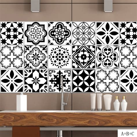 Black White Nordic Style Retro Tile Stickers PVC Bathroom