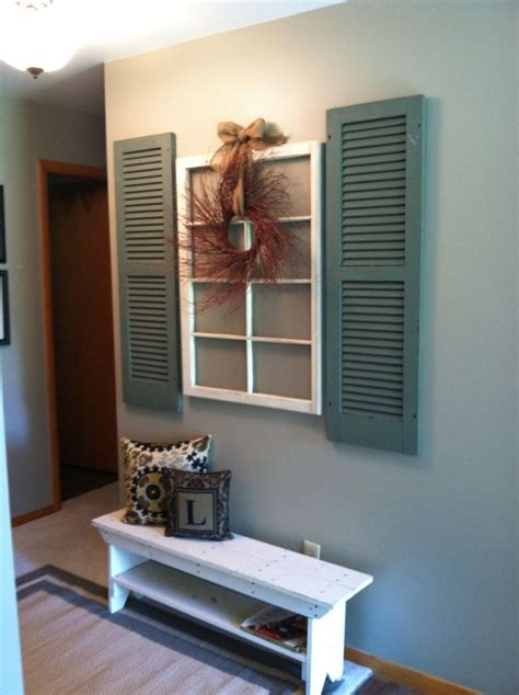 I found this old window pane at canton for a steal. 15 best images about shutter decor ideas on Pinterest | Shutter wall, Shelves and Repurposed