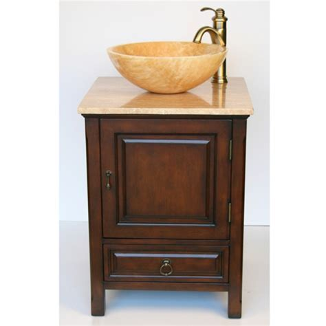 22 Inch Small Vessel Sink Vanity with Travertine Sink