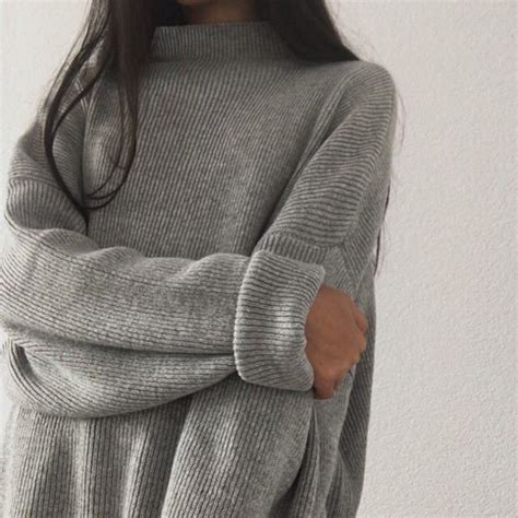 Sweater tumblr grey aesthetic turtleneck grey sweater thick long - Wheretoget