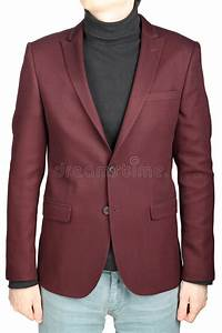 Dark Red Suit Jacket For Men Combined With Jeans Trousers. Stock Photo - Image 47973156