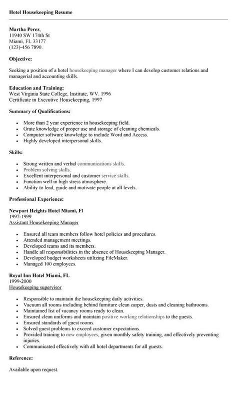 good professional housekeeping resume