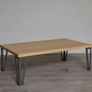 Pied De Table En épingle : table basse ch ne massif pieds metal style hairpin legs ~ Dailycaller-alerts.com Idées de Décoration
