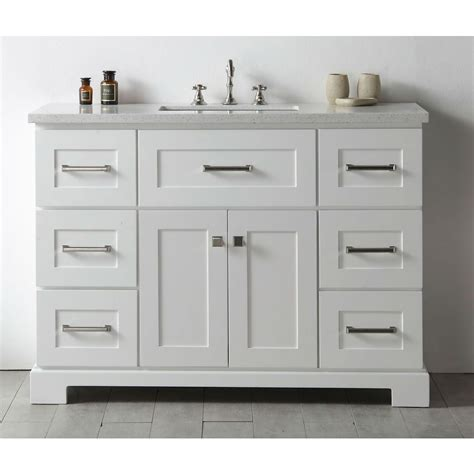 legion quartz top white   single bathroom vanity