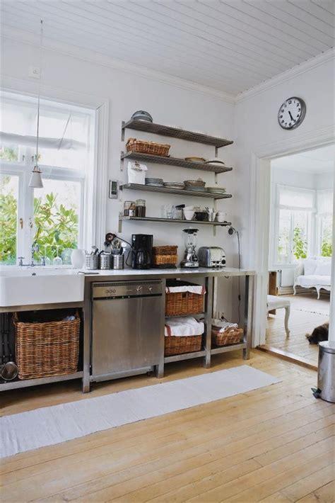 rustic kitchen  baskets open shelves love  metal