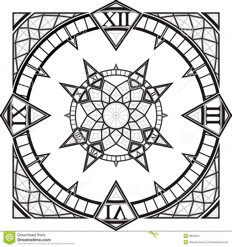 clock  gothic tattoo compass vector stock vector