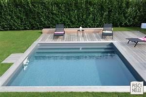 Margelle Piscine Grise : piscinelle avec liner gris ardoise et escabanc sur mesure ~ Melissatoandfro.com Idées de Décoration