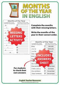 English Months  U2013 Missing Letters