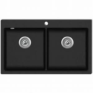 vidaxl evier de cuisine encastrable a 2 bacs en granite With salle de bain design avec evier noir 2 bacs encastrable