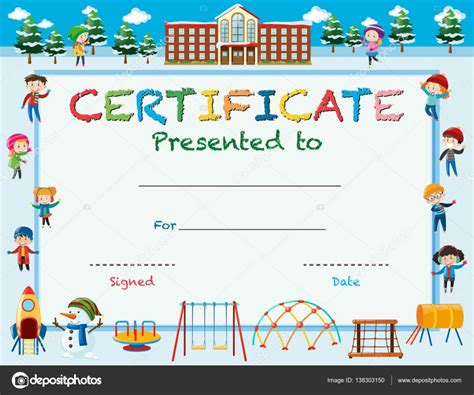 certificate templates with photos certificate template with kids in winter at school stock