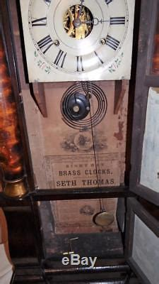 antique seth thomas triple decker pillar  day shelf clock