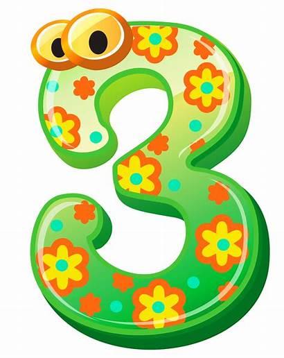 Numbers Number Clipart Clip Cartoon Three Preschool