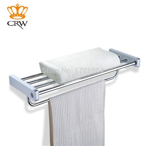 towel holder shelf crw bathroom towel rack tier rail shelf with hooks 2879