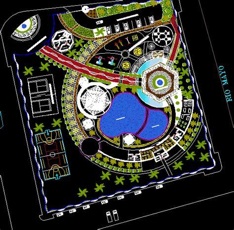tourist resort  simming pools  dwg design block