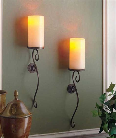 decorative candle sconces set of 2 led flameless candle scrolled wall sconces ivory