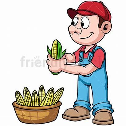 Farmer Corn Clipart Harvesting Farm Harvest Cartoon