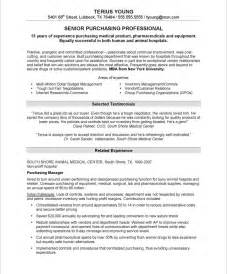 purchasing manager resume sle purchasing manager free resume sles blue sky resumes