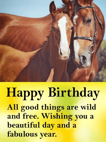 beautiful horses happy birthday card birthday greeting