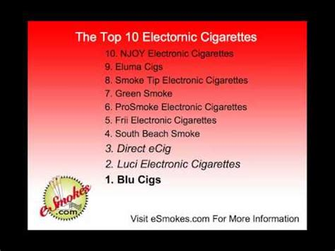 Top 10 Electronic Cigarette Brands Youtube