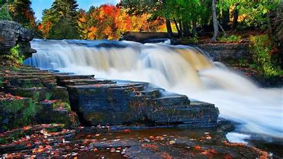 4k Waterfall River Autumn Forest 5k Nature