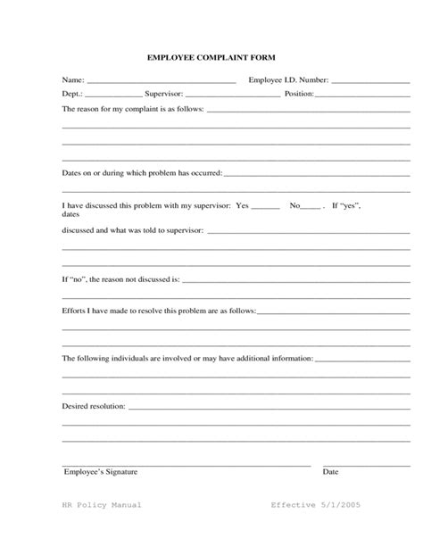 Generic Employee Complaint Form Free Download